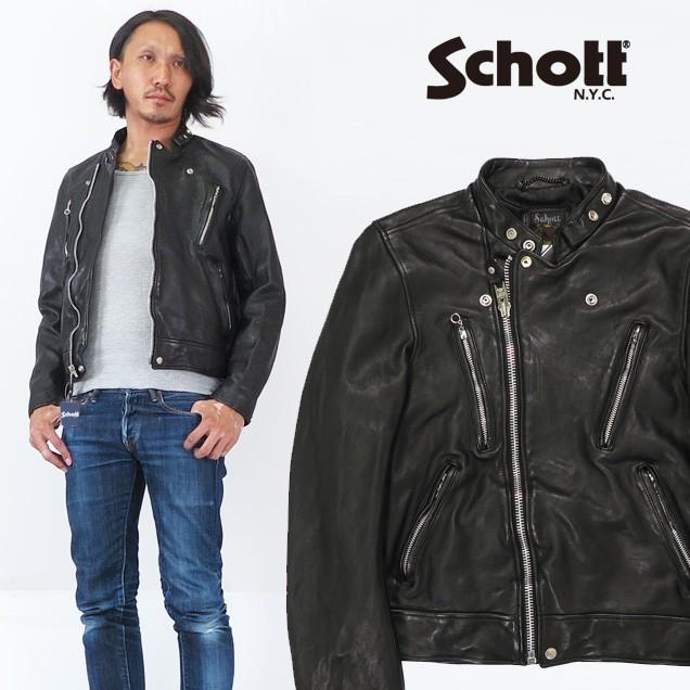 競売 ショット Schott シープスキン ライダースジャケット ユーズド加工 ウォッシュ加工 マンダリンカラー レザー 羊 革 sch3181067, 松山町 805e614d