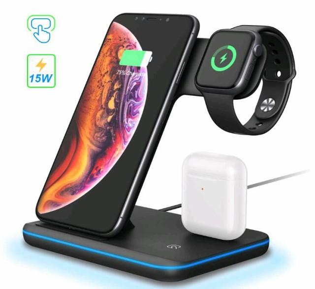 YQ-00539 ワイヤレス充電器 3 in 1充電スタンド Qi 急速 Airpods/Apple Watch,iPhone 8以降シリーズ用充電器 その他Qi対応機種も適用 L