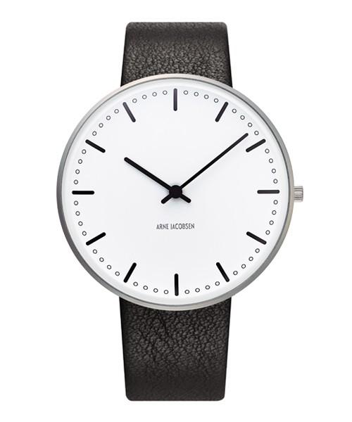 魅了 腕時計 アルネ・ヤコブセン ARNE JACOBSEN City Hall Watch Leather 40mm 53202-2001, ハンドメイドオルゴール*夢の音* 470ffa02