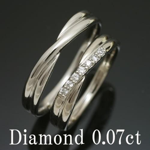 低価格 母の日 金属アレルギー 日本製 k18 イエローゴールド/ホワイトゴールド/ピンクゴールド ダイヤモンド ペアリング 2本セット 品質保証書-指輪・リング