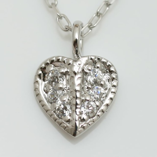 流行 ネックレス ハート プラチナ900 金属アレルギー ギフト 母の日 プラチナ 品質保証書 日本製 ダイヤモンド-ネックレス