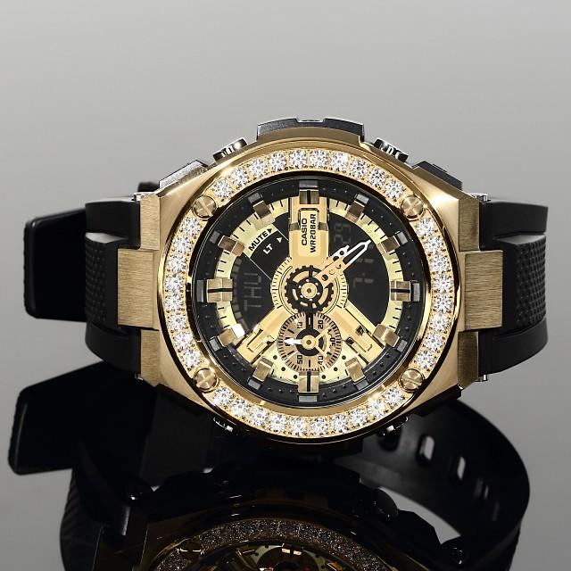一流の品質 カスタムベゼル G-SHOCK 52mm 大粒CZダイヤ(キュービックジルコニア)ケースサイズ ゴールド 400 18K GOLD カスタムループ付き GST-腕時計メンズ