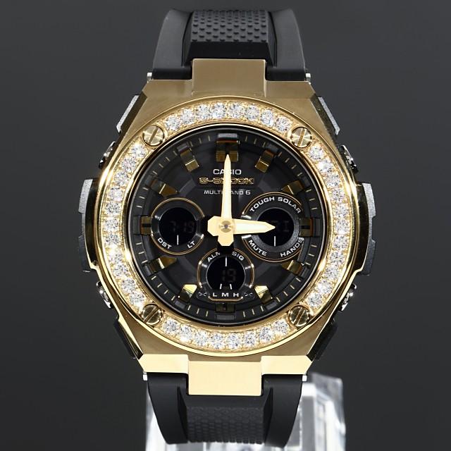 【超歓迎】 G-SHOCK GST w300 ゴールド 大粒4mmCZダイヤ(キュービックジルコニア)カスタムベゼル 18K GOLD バックル、ループ付き, スーツケース通販eskikaku 3b27ead3