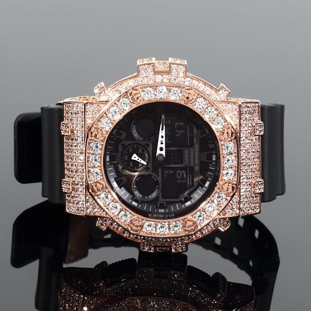 特別オファー ブラック 大粒CZダイヤベゼル(キュービックジルコニア) カスタムGショック G-SHOCK GA100 カスタムバックル/尾錠ループ付 カスタム-腕時計メンズ