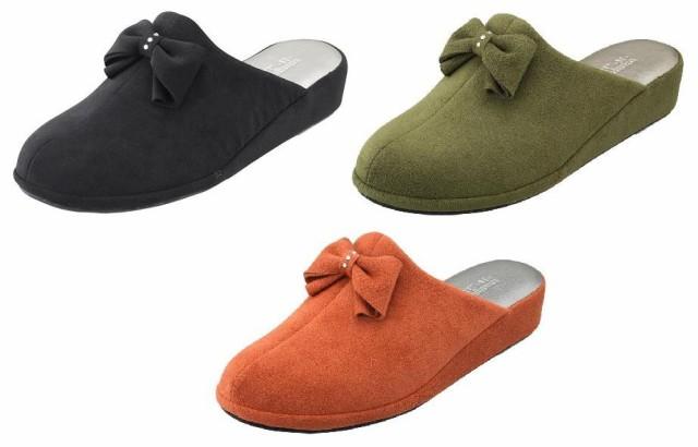 スリッパ Pansy パンジー 9453 室内履き ルームシューズ スエード調 リボン レディース 靴 お取り寄せ商品