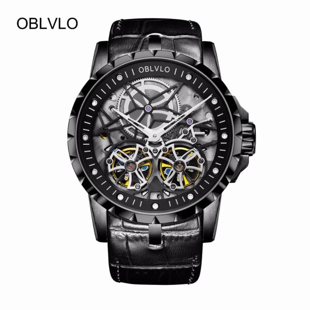 高価値 メンズ 腕時計 OBLVLO 高級 革 ミリタリー エクスカリバーstyle 高級トゥールビヨン, きもの処えりよし 7c872e9f