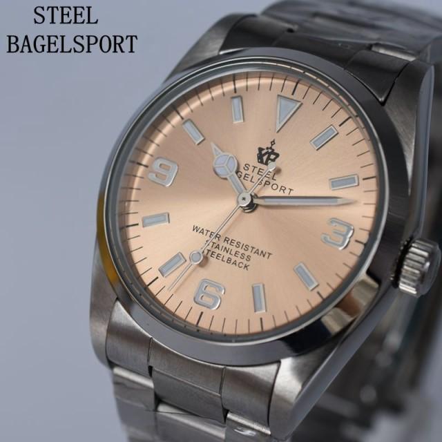 非常に高い品質 STEEL BAGEL SPORT メンズ腕時計 機械式 自動巻き クラシック ビジネス スチールバンド A08, モダンインテリア ロココ 6fadced6
