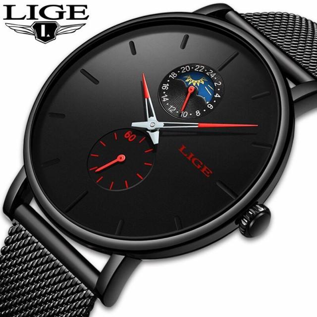 素敵な メンズ腕時計 クォーツ LIGE メッシュ カジュアル 日付 防水 ファッション 高級 スポーツ 超薄型 レロジオ, 九谷焼 ほんだ e9d0c4a8