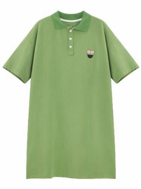 cf06510bab8 ポロシャツ ワンピース Tシャツワンピ 半袖 カジュアル シンプル トップス レディース Q982