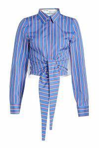 【 新品 】 Off-White Shirt レディースブラウス Striped Cotton Shirt with Ruffled with Ruffled Trims, 【メーカー直売】:fb45e8fd --- kzdic.de