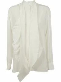 代引き手数料無料 Neck white Ruffled Blouse Off レディースシャツ Givenchy Givenchy Scarf-トップス