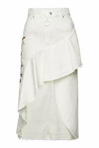 【代引き不可】 Off-White Denim Off-White レディーススカート Off-White Embroidered Denim Skirt High-Low with High-Low Hem, 名前シールのねむっこ:3fa037f6 --- kzdic.de