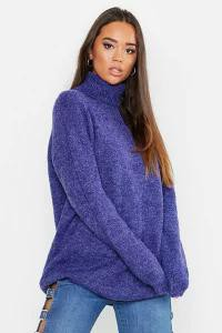 Boohoo レディーストップス Boohoo Oversized Roll Neck Sweater denim-blue