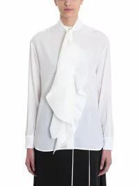 爆売り! White Shirt Givenchy Scarf Silk レディースブラウス Pleated Givenchy-トップス