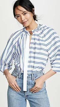 【同梱不可】 Tibi Tibi レディースシャツ Tibi Tie Neck Tie 3 Tibi/4 Sleeve Top White/Blue Stripe Mu, Alice Blanche:edcc3718 --- chevron9.de