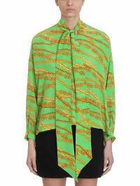 国産品 Balenciaga Green レディースブラウス Balenciaga Bright Green Silk Silk Chain Print Chain Blouse Green, 大田村:ef0042c0 --- kleinundhoessler.de