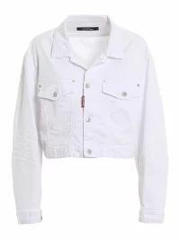【予約販売】本 Jacket? Denim Dsquared2 White Dsquared2 Cropped レディースデニム Cotton-パンツ