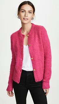 【NEW限定品】 レディースカーディガン Fuschia Versace Versace Fuzzy Cardigan-トップス