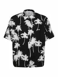 2019春の新作 MSGM MSGM メンズシャツ メンズシャツ MSGM MSGM Palm Print Shirt Nero, 高柳町:47459fcf --- kulturbund-sachsen-anhalt.de
