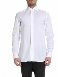 【国産】 Ermenegildo Zegna メンズシャツ メンズシャツ Ermenegildo Ermenegildo Zegna Shirt Cotton Cotton Double Cuffs White, Rainbow Factory:70bfaf29 --- stunset.de
