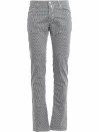 全ての Jacob Cohen メンズデニム Jacob Cohen Striped Cotton Stretch Pants White Blu, アイピリカ c8e48178