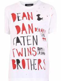 【保障できる】 Dsquared2 White Printed T-shirt Dsquared2 メンズトップス-トップス