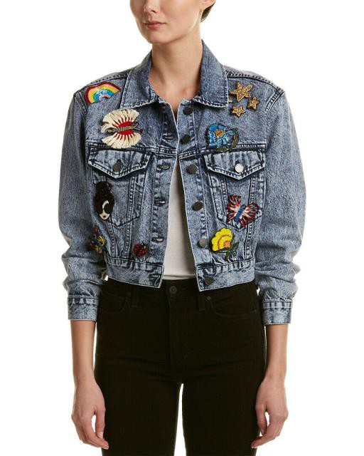 【SEAL限定商品】 Alice + Olivia アリス+オリビア ファッション フォーマル Pinned + Alice + ファッション Olivia Chloe Pinned Cropped Denim Jacket S Blue, ロールスクリーンカーテンオルサン:0d01af7c --- frauenfreiraum.de