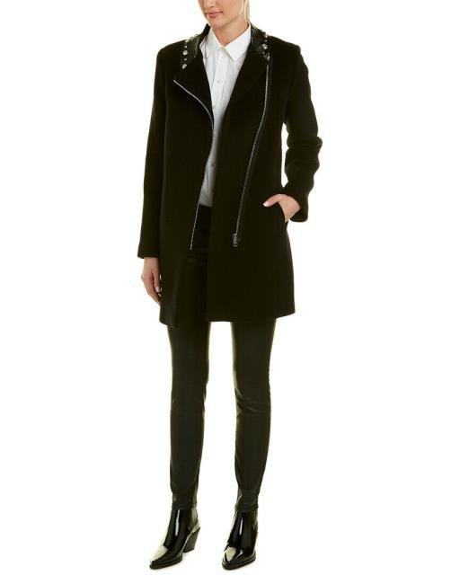 [定休日以外毎日出荷中] ファッション フォーマル Sandro Sandro Embellished フォーマル Leather-Trim Wool-Blend ファッション Coat, 東広島市:84875dd7 --- chevron9.de