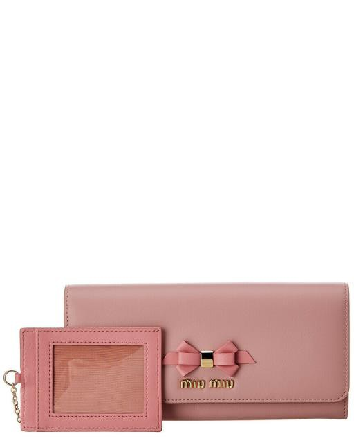 春夏新作モデル continental コンチネンタル ファッション 財布 Miu ファッション Miu continental 財布 Bow Leather Continental Wallet Pink, イワタシ:fb3711b1 --- oeko-landbau-beratung.de