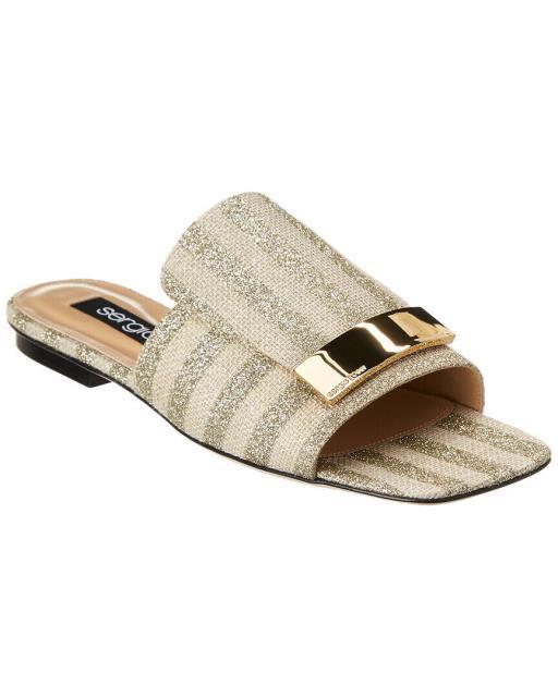 【正規逆輸入品】 セルジオロッシ サンダル Sergio Rossi Rossi Slide Sergio Burlap ファッション-靴・シューズ