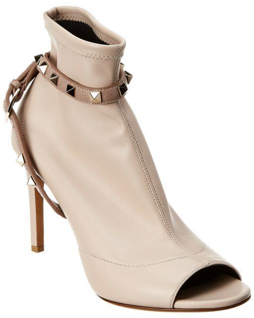 超大特価 Valentino ヴァレンティノ シューズ Valentino Rockstud 90 Leather Peep Toe Bootie 37.5 Pink, トヨカワシ 1d66de04