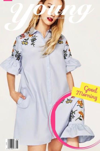 ファッション ドレス RARE_NWT ZARA AW17 SKY BLUE POPLIN DRESS WITH FLORAL EMBROIDERY SHIRT 0787/028_S