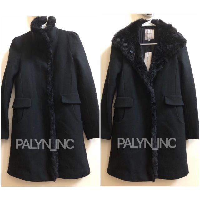 【ポイント10倍】 ファッション WITH 1255/292_S 衣類 RARE_NWT ZARA BLACK LONG MASCULINE WOOL LONG COAT WITH FUR TRIM 1255/292_S M, ビザインショップ:91898d6f --- zafh-spantec.de
