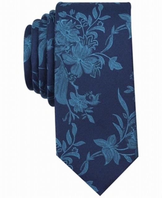 ファッション 小物 Bar III NEW Navy Teal Blue Danforth Floral Mens Skinny Neck Tie