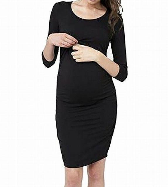 Ripe ファッション ドレス Ripe NEW Black Womens Size XL Gathered Stretch Maternity Sheath Dress #352