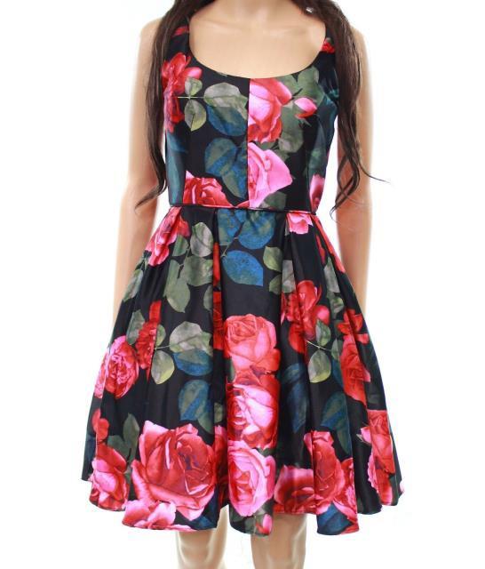 Betsy & Adam ベッツィアンドアダム ファッション ドレス Betsy & Adam NEW Black Women Size 10 Floral Satin Pleated A-Line Dress
