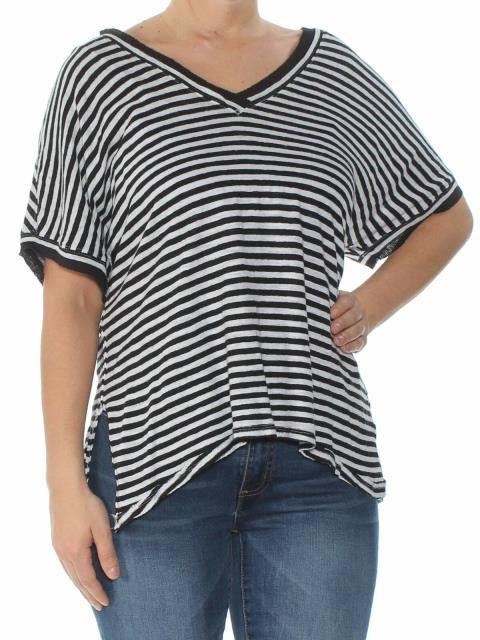 Free People フリーピープル ファッション トップス Free People NEW Black Striped Womens Size Medium M V-Neck Knit Top