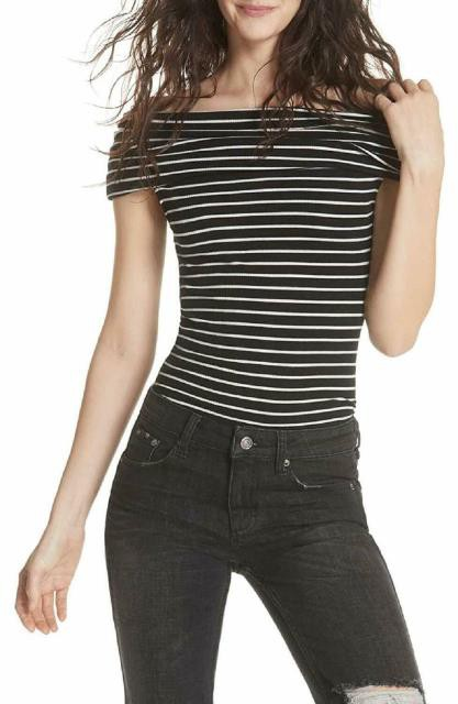 Free People フリーピープル ファッション トップス Free People Black White Womens Size XS Striped Print Ribbed Knit Top