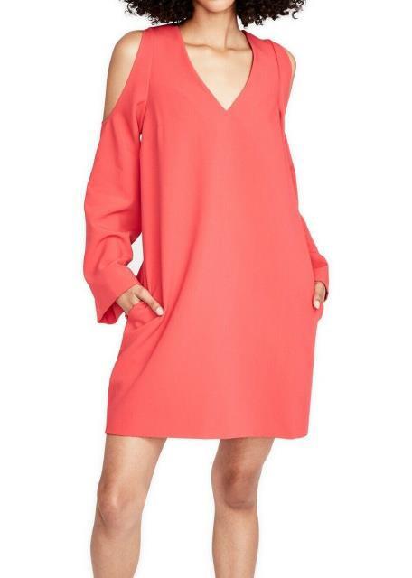 Rachel Roy レイチェルロイ ファッション ドレス Rachel Rachel Roy NEW Pink Cold-Shoulder V-Neck Small S Shift Dress