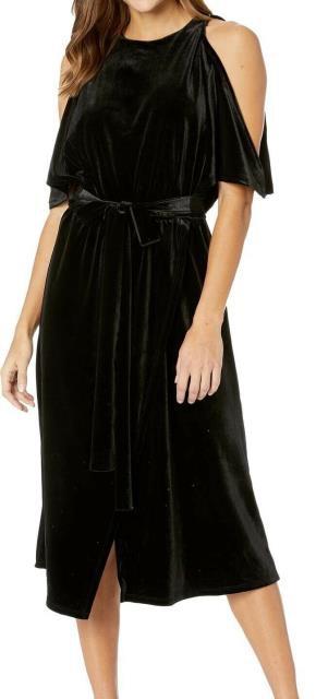 Bishop + Young ファッション ドレス Bishop + Young Black Women Medium M Belted Velvet Cold Shoulder Dress