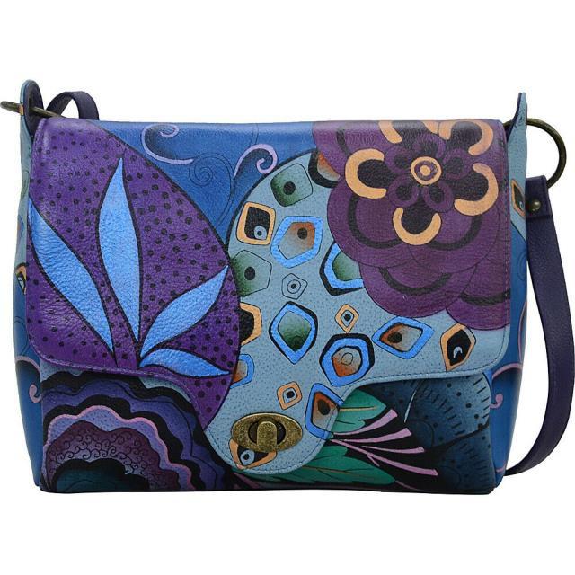 最安 ANNA by Anuschka ファッション バッグ ANNA by Anuschka Hand Painted Leather Flap Messenger - Cross-Body Bag NEW, スタジアム 0572cde7