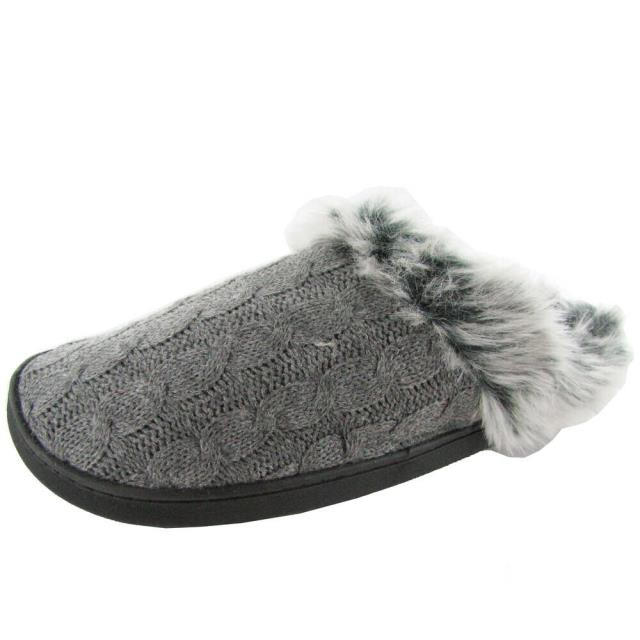 Plush プラッシュ シューズ スリッパ $25 renaissance woman cozy plush slipper shoe grey/black medium