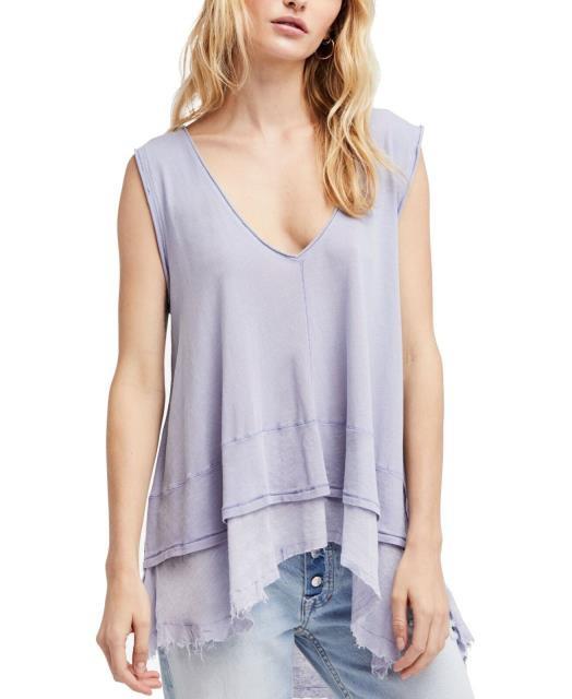 Free People フリーピープル ファッション トップス Free People Womens Blouse Purple Size Medium M Layered Look Hi Low