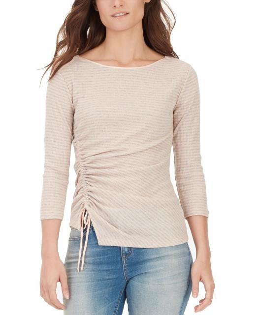 William Rast ウィリアムラスト ファッション トップス William Rast Womens Pink Size XS Striped Cinched Sleeve Blouse