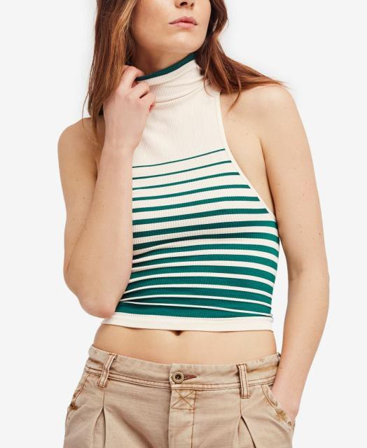 Free People フリーピープル ファッション トップス Free People NEW Green Womens Size Small S Striped Turtleneck Crop Top