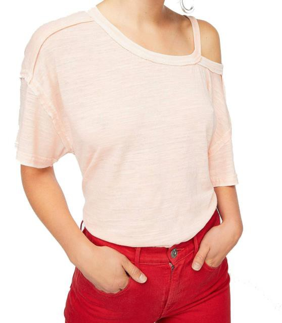 Free People フリーピープル ファッション トップス Free People Womens Knit Top Pink Size Large L Alex Cut Out One-Shoulder