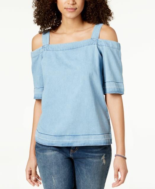 Calvin Klein カルバンクライン ファッション トップス Calvin Klein Womens Top Blouse Blue Size Large L Knit Chambray