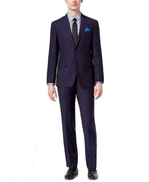 送料無料 ファッション Blue フォーマル TALLIA NEW Navy Blue Button Mens NEW Size 40 Short Stretch Two Button Wool Suit, 酒の茶碗屋:aa20617c --- chevron9.de