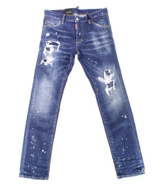 新作人気 ディースクエアード Blue DSquared2 ファッション パンツ 46X31 Distressed Stretch Slim Dsquared2 Skinny Mens Size Jeans-その他メンズファッション
