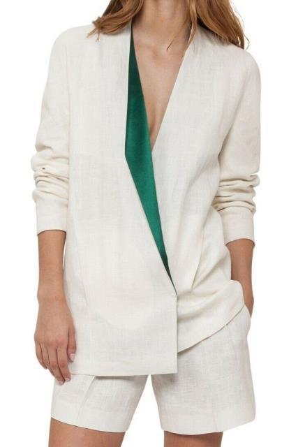 美品  Akris アクリス ファッション 衣類 Akris NEW NEW White Size Womens Ivory Womens Size 12 Lapel-Collar Linen Jacket, 東北町:c6ec7328 --- chevron9.de